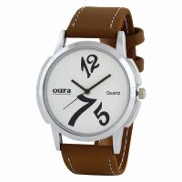 OURA Round Dial Tan Synthetic Strap Men Quartz Watch for Men