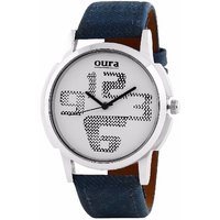 OURA Round Dial Blue Synthetic Strap Men Quartz Watch for Men