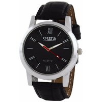 Oura Round Dial Black Synthetic Strap Quartz Watch For Men