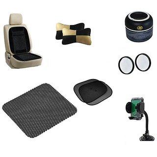 Takecare Combo (Neck Rest +Ash Trey +Non Slip Pad +Mobile Holder +3R Round Mirror +Back Rest+Sunshade) For Honda Brio