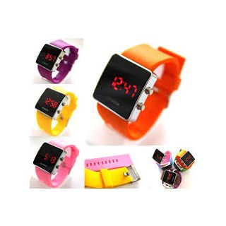 Kids Special Square Dial L.E.D. Watch In Beautiful Colours..