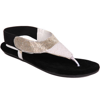 Do Bhai Womens White Gold and Black Flat Sandals