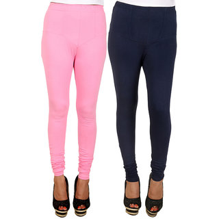PRO Lapes Cotton Navy Blue-Carnation pink Leggings Set of 2