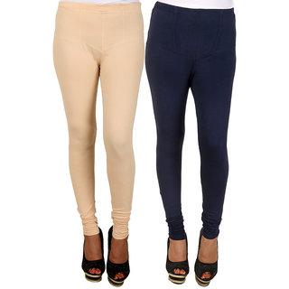 PRO Lapes Cotton Navy Blue-Beige Leggings Set of 2