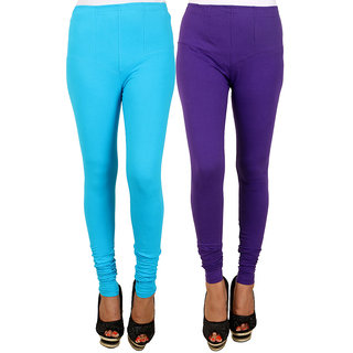 PRO Lapes Cotton Purple-Turquoise Leggings Set of 2