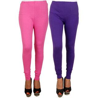 PRO Lapes Cotton Purple-Magenta Leggings Set of 2