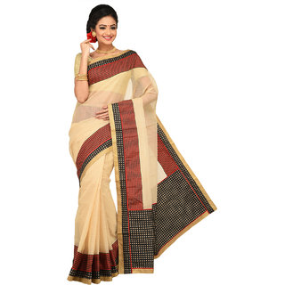 Sangam Beige Supernet Printed Saree With Blouse
