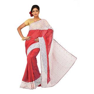 Sangam Red Bhagalpuri Silk Embroidered Saree With Blouse