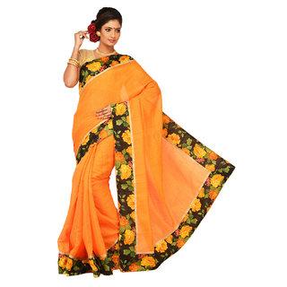 Sangam Orange Bhagalpuri Silk Printed Saree With Blouse