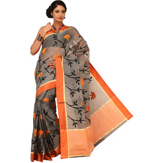Sangam Orange Supernet Embroidered Saree With Blouse