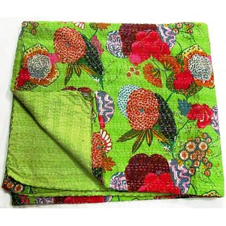 Kantha Quilt, Handmade Kantha Printed Cotton Bed Sheets/Covers