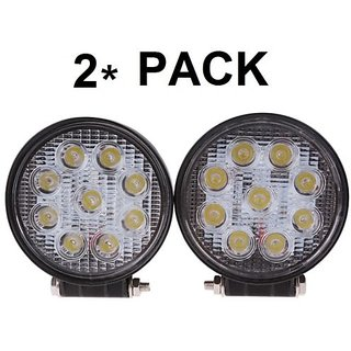 LED Work Light For all CARs (27Watt, 9LEDs, 3W Pure White Each). 2x