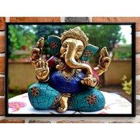 Lord Ganesh Framed Wall Painting Decorative Wall Decor