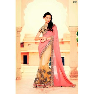 Latest Designed Light Pink and Light Golden Saree