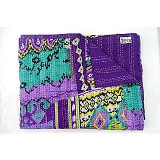 Kantha Quilt Queen Size Gudari New Ekat Design Bedcover(BHI-113)