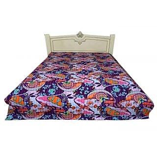 Kantha Throw Indian Handmade Ethnic Twin Size Mughal Design Bedcover(BHI-104)