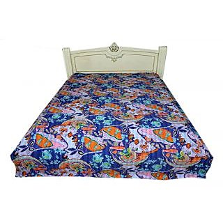 Kantha Throw Ethnic Quilt Indian Handmade Gudari Mughal Design Twin Size Bedcover(BHI-102)