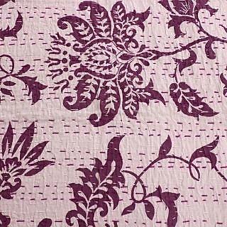 Kantha Gudari Zigzag Ekat Design Queen Size Quilt Ethnic Bedcover(BHI-116)