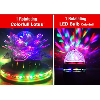 VRCT 1 Rotatating Colorfull Lotus  with 1 Led Bulb Combo Offer