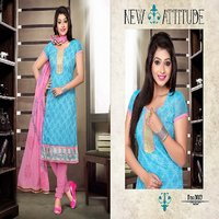Trendz Apparels Pink & Sky Blue Cotton Printed Kurta & Churidar Material Dress Material