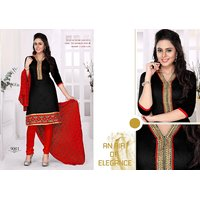 Trendz Apparels Black Chanderi Cotton Silk Straight Fit Salwar Suit