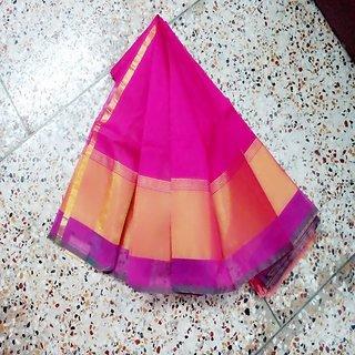 Pure Handloom Rani Colour Silk Cotton Saree