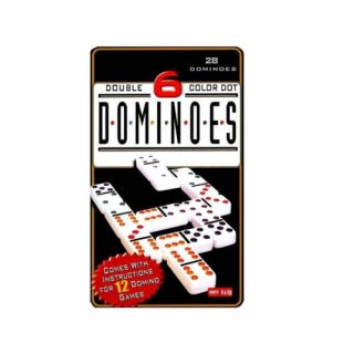 Double Six Color Dot Set  28 Dominoes Tin Box Famous Dominoes Game
