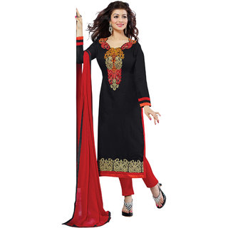 Aaina Black Cotton Embroidered Suit (SB-2809)