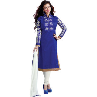 Aaina Blue Cotton Embroidered Suit (SB-2812)
