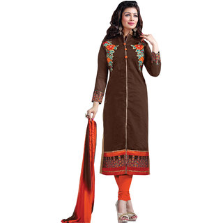 Aaina Brown Cotton Embroidered Suit (SB-2818)