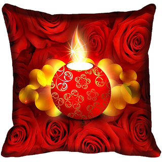 meSleep Diwali Candle Digital Printed Cushion Cover (16x16)