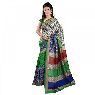 Florence Beige  Green Malbani Silk  Printed Saree (FL-10833)