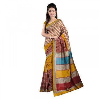 Florence Beige  Yellow Malbani Silk  Printed Saree (FL-10834)