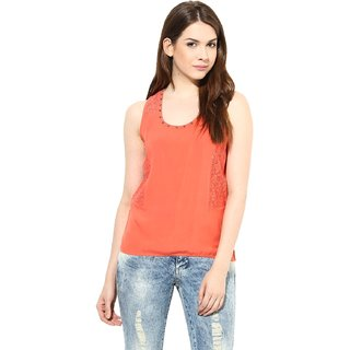 Harpa Coral Rayon Solid Womens Top