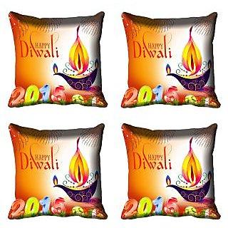 meSleep Beautiful Diwali Candle Cushion Cover (16x16)