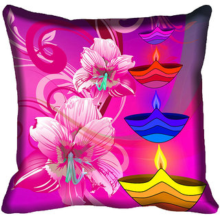 meSleep Happy Diwali Floral Cushion Cover (16x16)