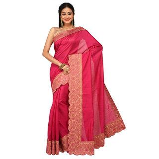 Sangam Kolkata Pink Nylon Embroidered Saree With Blouse