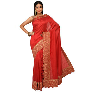Sangam Red Nylon Embroidered Saree With Blouse