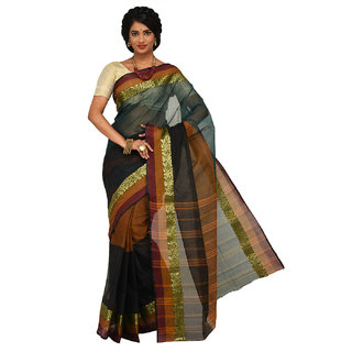 Sangam Multicolor Cotton Self Design Saree With Blouse
