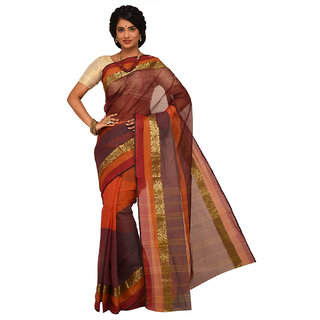 Sangam Orange Cotton Self Design Saree With Blouse