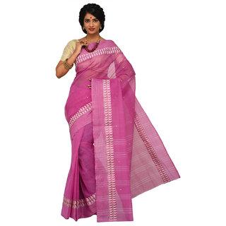 Sangam Purple Cotton Self Design Saree With Blouse