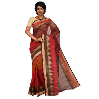 Sangam Orange Cotton Self Design Saree With Blouse