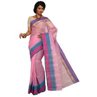 Sangam Pink Cotton Self Design Saree With Blouse