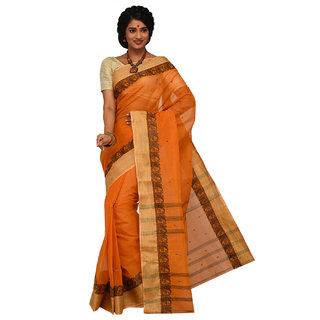 Sangam Brown Cotton Self Design Saree With Blouse