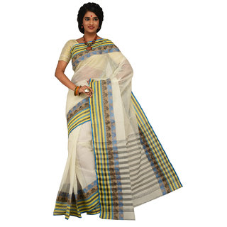 Sangam White Cotton Self Design Saree With Blouse