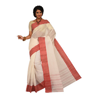 Sangam Red Cotton Self Design Saree With Blouse