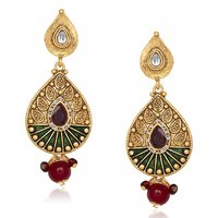 Kriaa Kundan Austrian Stone Green Meenakari Drop Antique Gold Finish Dangle Earr