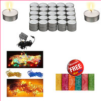 Diwali Special - T Lights with Rise  LED light and Free Rangoli