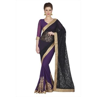 Black  Violet Net Brasso And Faux Georgette Saree With Unstitched Blouse (1836)