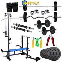 Fitfly Rubberised Home Gym Set With 20 In 1 Bench&80 Kg Weight&5Ft Plain Rod&3Ft Curl Rod